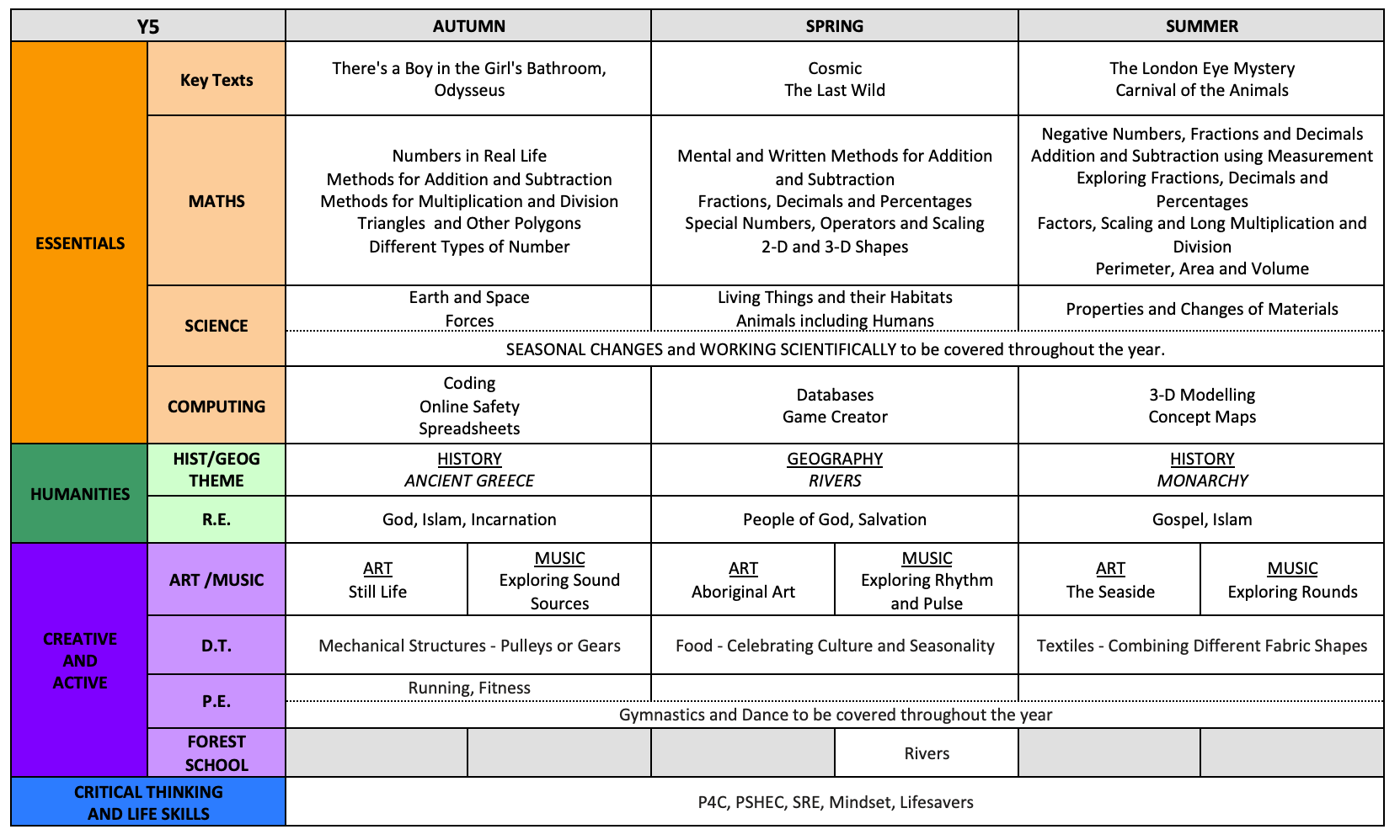 Y5 Curriculum Overview