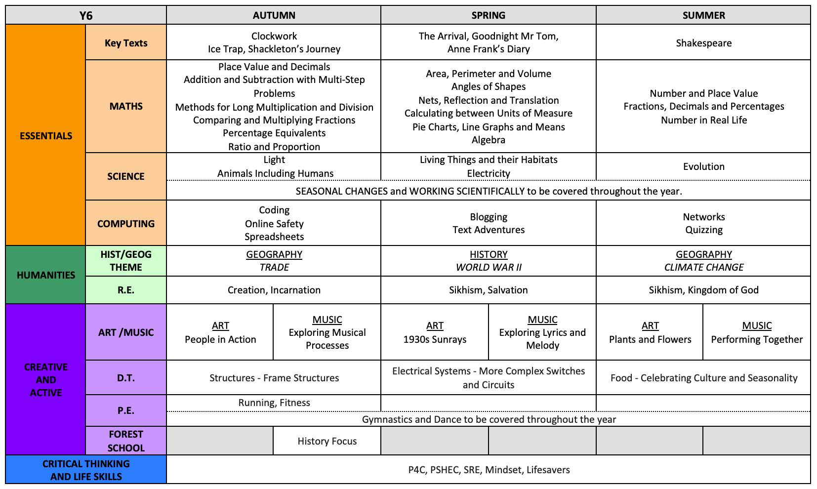 Y6 Curriculum Overview
